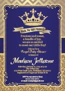 Dark Blue Gold Prince Royal Print at Home Digital Card