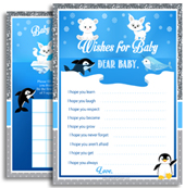 Blue Gray Arctic Animals Baby SHower