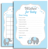 Blue Gray Baby Elephant Boy Shower