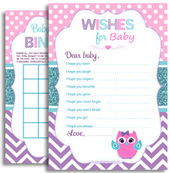 Purple Pink Teal Owl Baby Shower