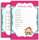 Hot Pink Turquoise Monkey Baby Shower