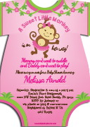 Monkey invitations ao01bpg pink green girl jungle monkey baby shower filmwisefo