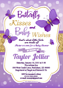 Purple Lavender gold butterfly invitation for baby shower