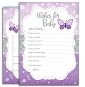 Butterfly kisses and baby wishes invitation for baby shower with purple grey butterfly baby shower bokeh filmwisefo Choice Image