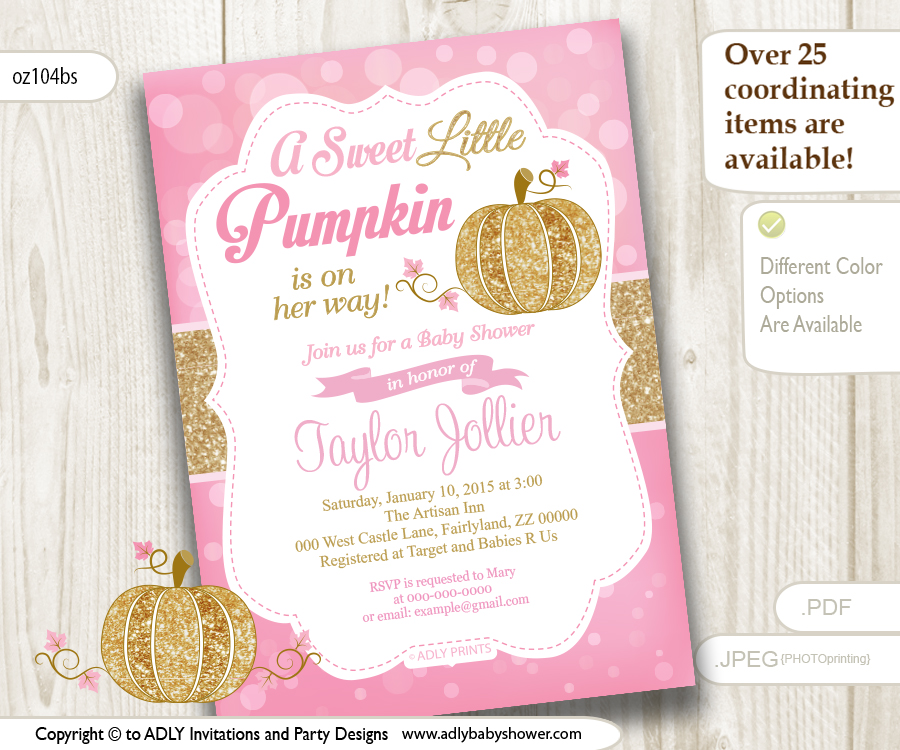 Little pumpkin gold pink bokeh autumn invitation for baby shower little pumpkin gold pink bokeh autumn invitation for baby shower pumpkin girl shower halloween baby shower instant download adly invitations and filmwisefo
