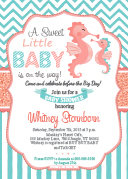 Coral Turquoise Sea horse unisex baby shower