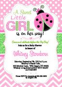 Pink Green Ladybug Baby Shower Invitation