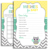 Neurtal Mint Grey Yellow Owl Shower