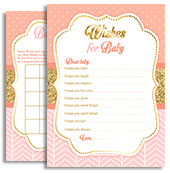 Coral Gold Pink Glitter Baby Shower