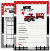 Red Grey Tractor Boy Shower